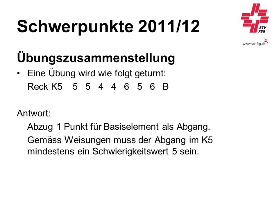 Schwerpunkte 2011/12 Übungszusammenstellung