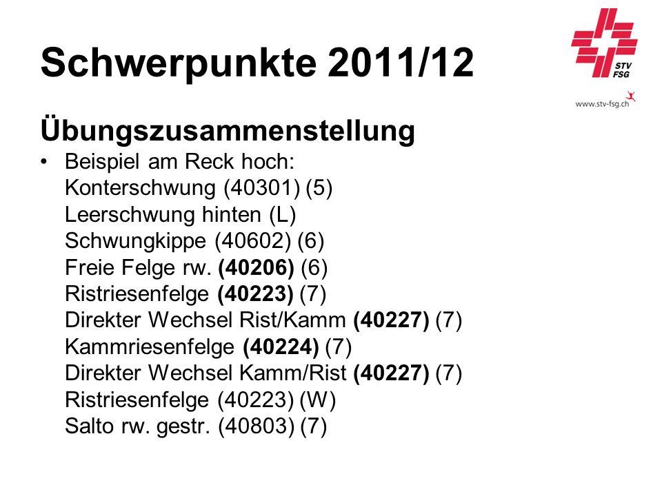 Schwerpunkte 2011/12 Übungszusammenstellung Beispiel am Reck hoch: