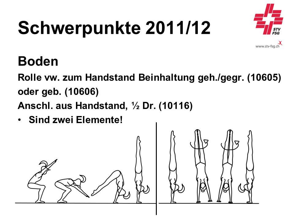 Schwerpunkte 2011/12 Boden. Rolle vw. zum Handstand Beinhaltung geh./gegr. (10605) oder geb. (10606)