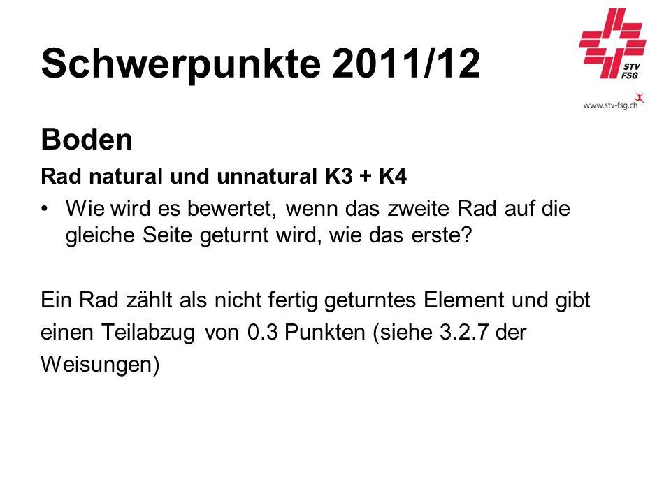 Schwerpunkte 2011/12 Boden Rad natural und unnatural K3 + K4