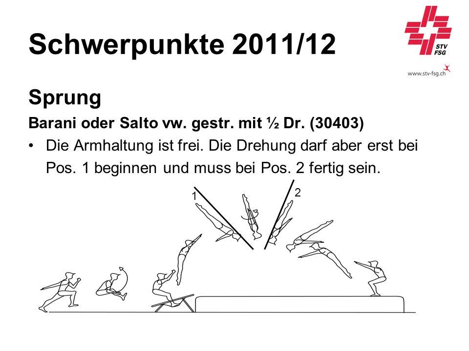 Schwerpunkte 2011/12 Sprung. Barani oder Salto vw. gestr. mit ½ Dr. (30403) Die Armhaltung ist frei. Die Drehung darf aber erst bei.