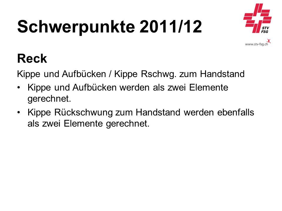 Schwerpunkte 2011/12 Reck. Kippe und Aufbücken / Kippe Rschwg. zum Handstand. Kippe und Aufbücken werden als zwei Elemente gerechnet.