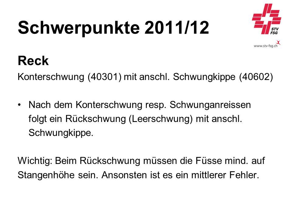 Schwerpunkte 2011/12 Reck. Konterschwung (40301) mit anschl. Schwungkippe (40602) Nach dem Konterschwung resp. Schwunganreissen.