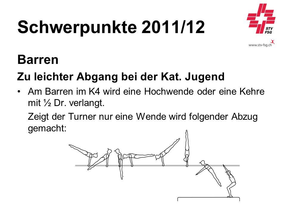 Schwerpunkte 2011/12 Barren Zu leichter Abgang bei der Kat. Jugend