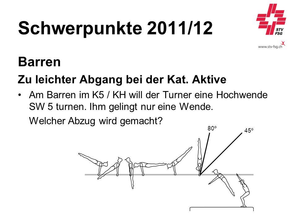 Schwerpunkte 2011/12 Barren Zu leichter Abgang bei der Kat. Aktive