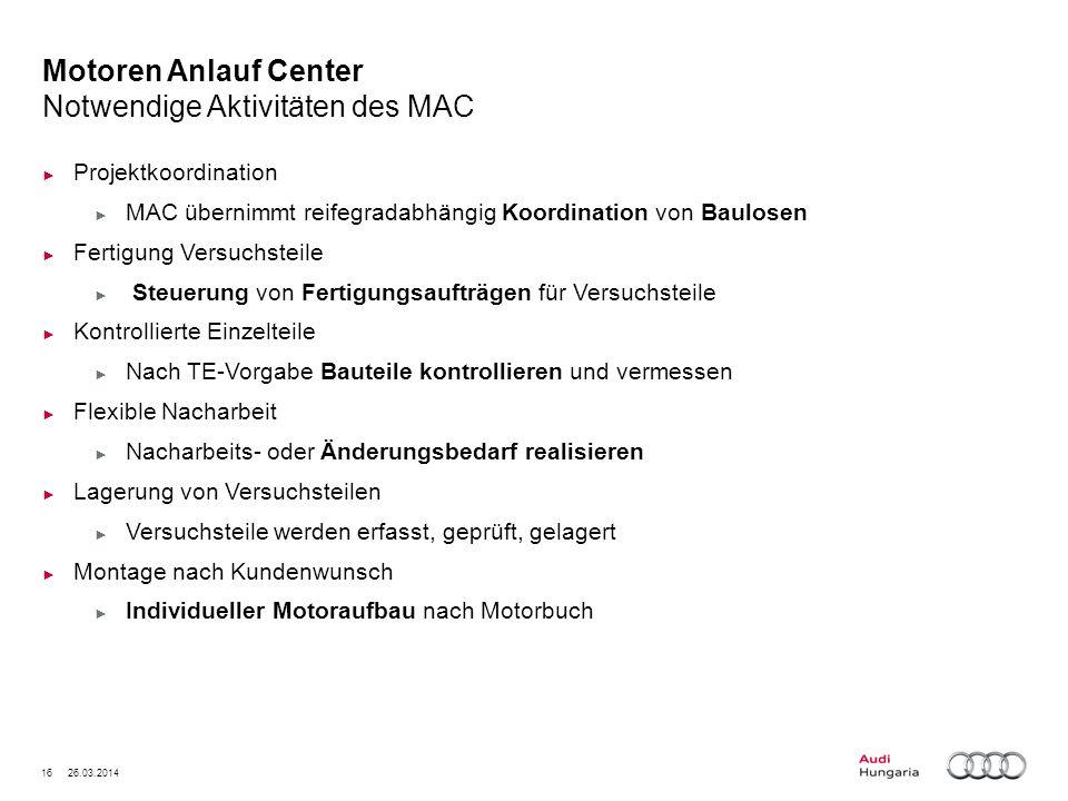 Motoren Anlauf Center Notwendige Aktivitäten des MAC
