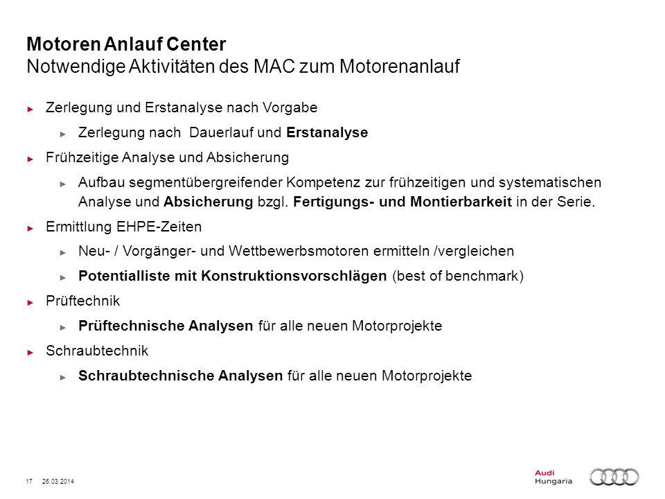 Motoren Anlauf Center Notwendige Aktivitäten des MAC zum Motorenanlauf