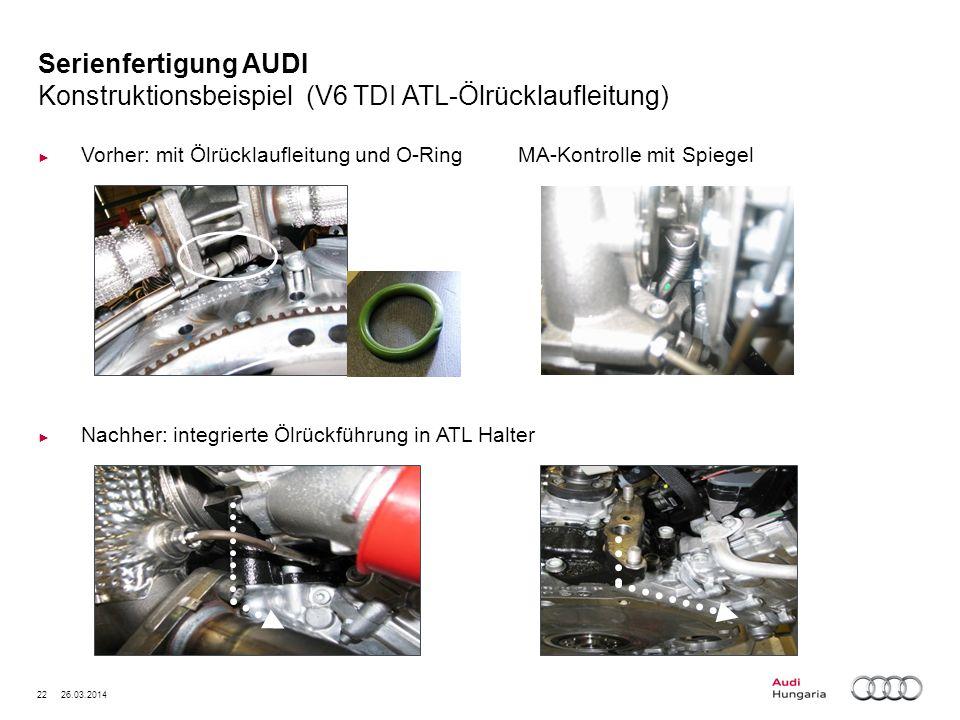 Serienfertigung AUDI Konstruktionsbeispiel (V6 TDI ATL-Ölrücklaufleitung)