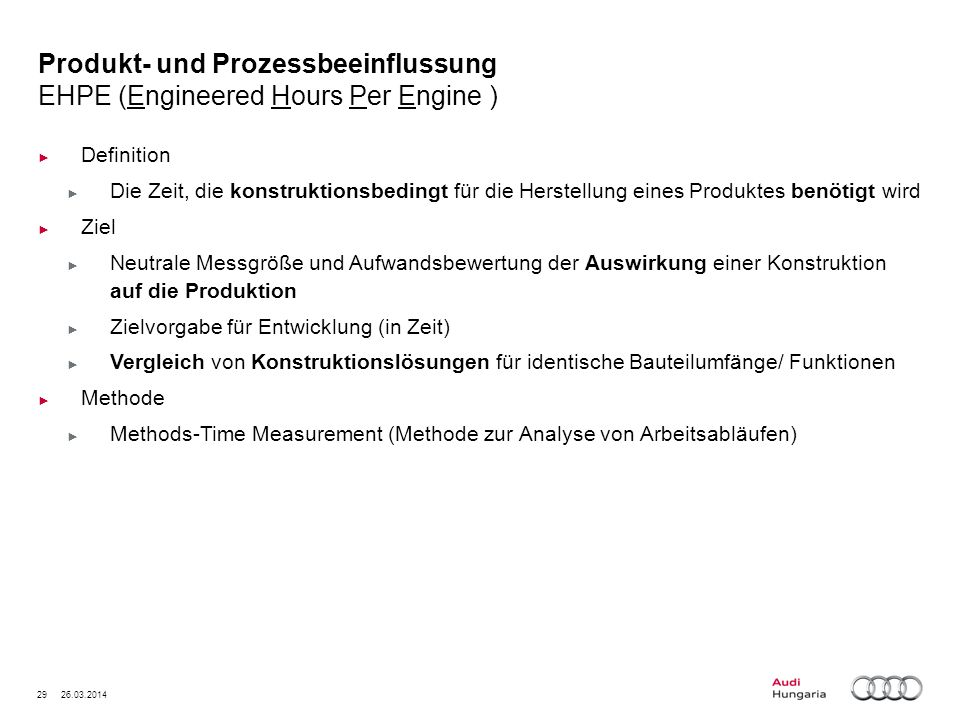 Produkt- und Prozessbeeinflussung EHPE (Engineered Hours Per Engine )