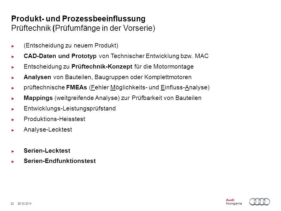 Produkt- und Prozessbeeinflussung Prüftechnik (Prüfumfänge in der Vorserie)