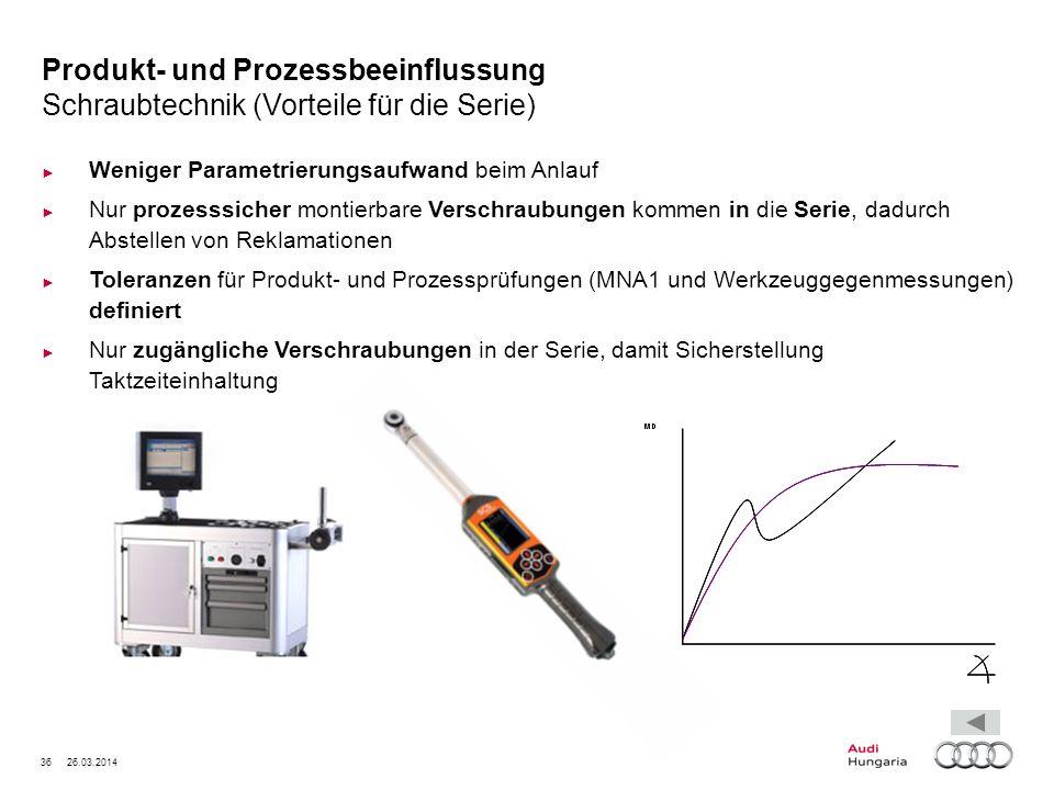 Produkt- und Prozessbeeinflussung Schraubtechnik (Vorteile für die Serie)