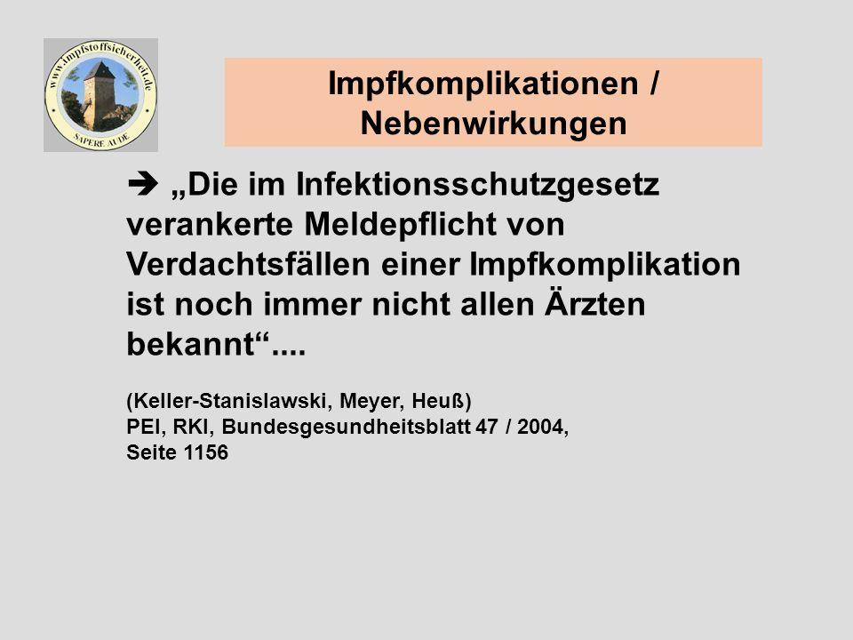 Impfkomplikationen / Nebenwirkungen
