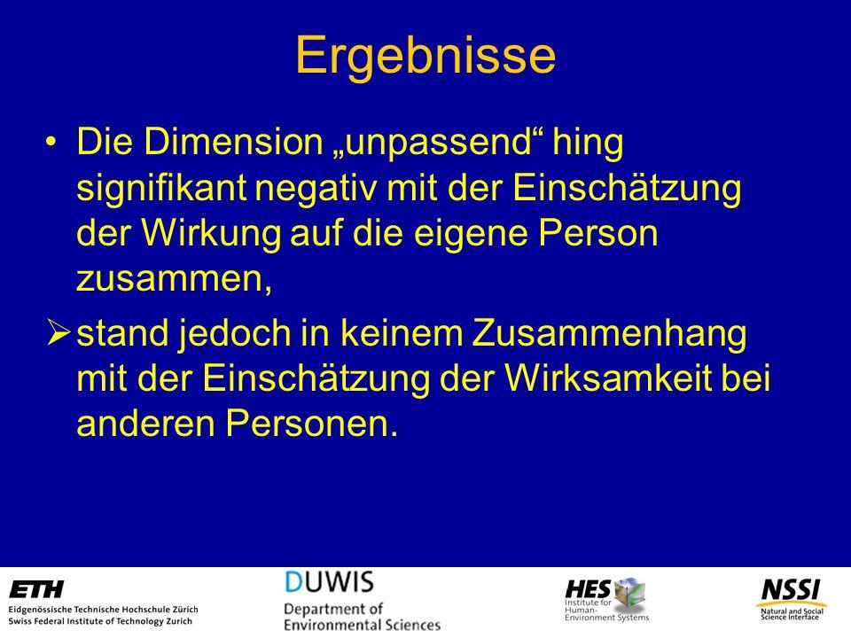 """Ergebnisse Die Dimension """"unpassend hing signifikant negativ mit der Einschätzung der Wirkung auf die eigene Person zusammen,"""