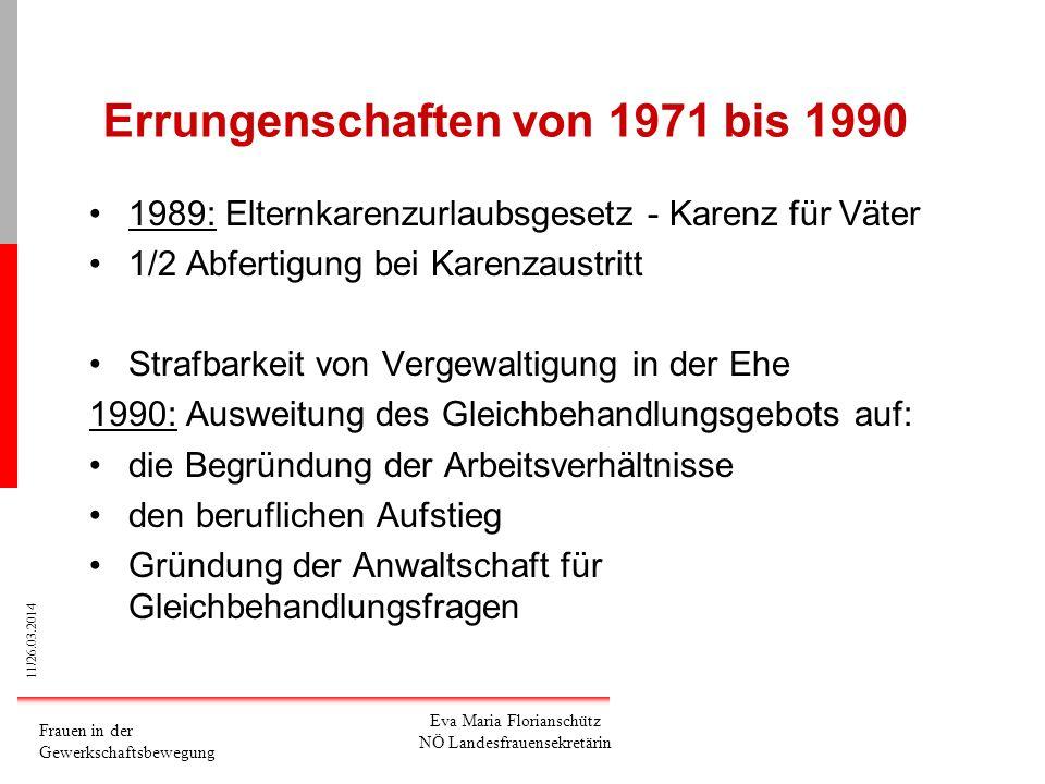 Errungenschaften von 1971 bis 1990