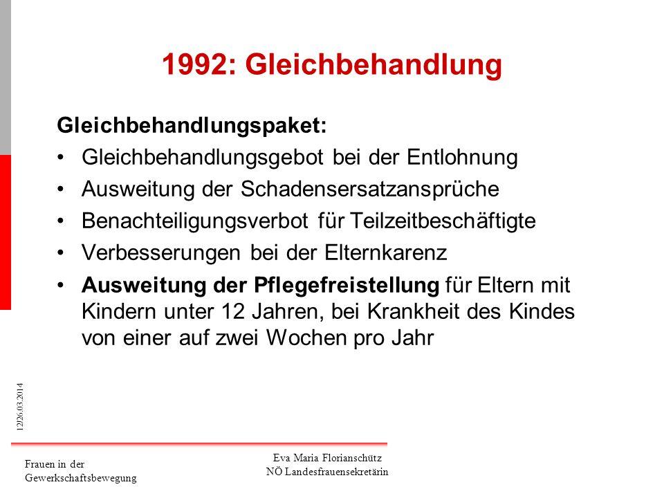 1992: Gleichbehandlung Gleichbehandlungspaket: