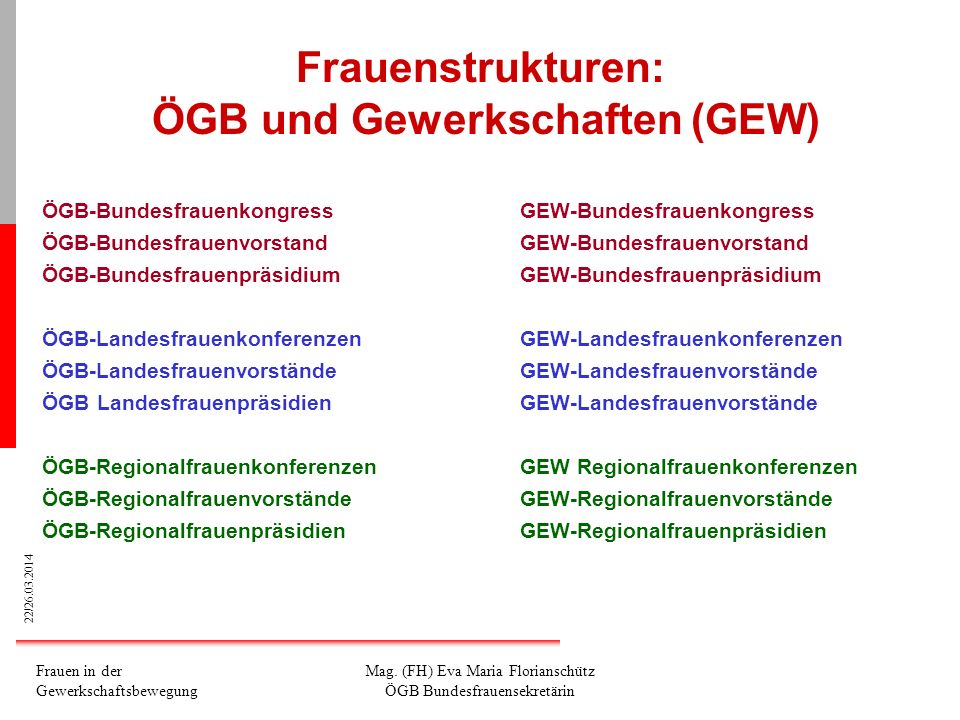 Frauenstrukturen: ÖGB und Gewerkschaften (GEW)