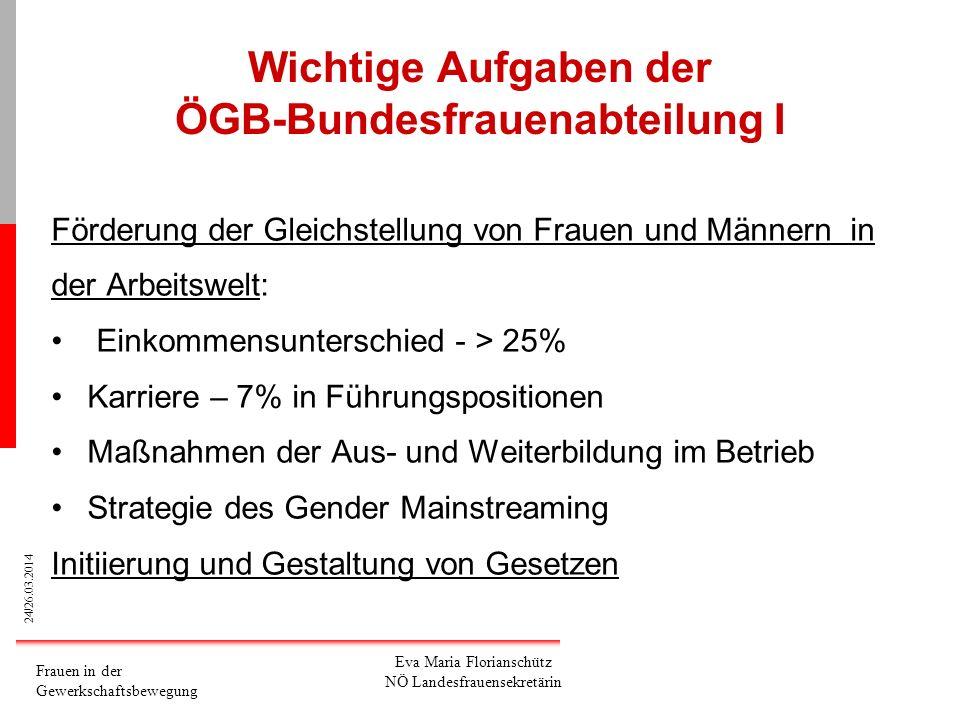Wichtige Aufgaben der ÖGB-Bundesfrauenabteilung I