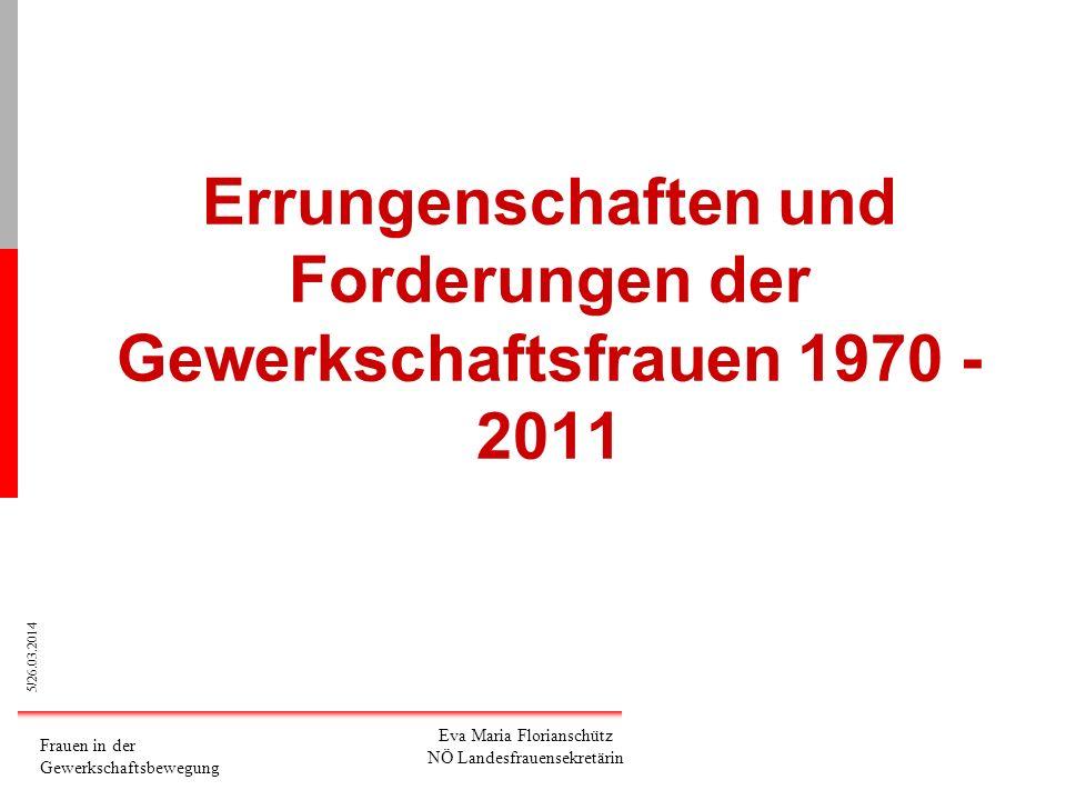Errungenschaften und Forderungen der Gewerkschaftsfrauen 1970 - 2011