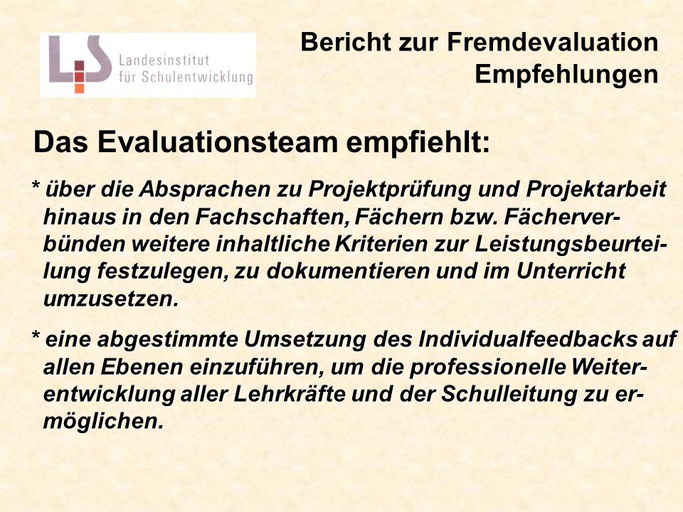 Das Evaluationsteam empfiehlt: