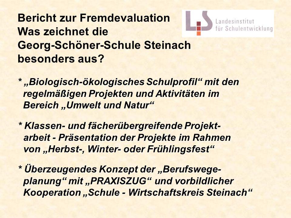 Bericht zur Fremdevaluation Was zeichnet die Georg-Schöner-Schule Steinach besonders aus