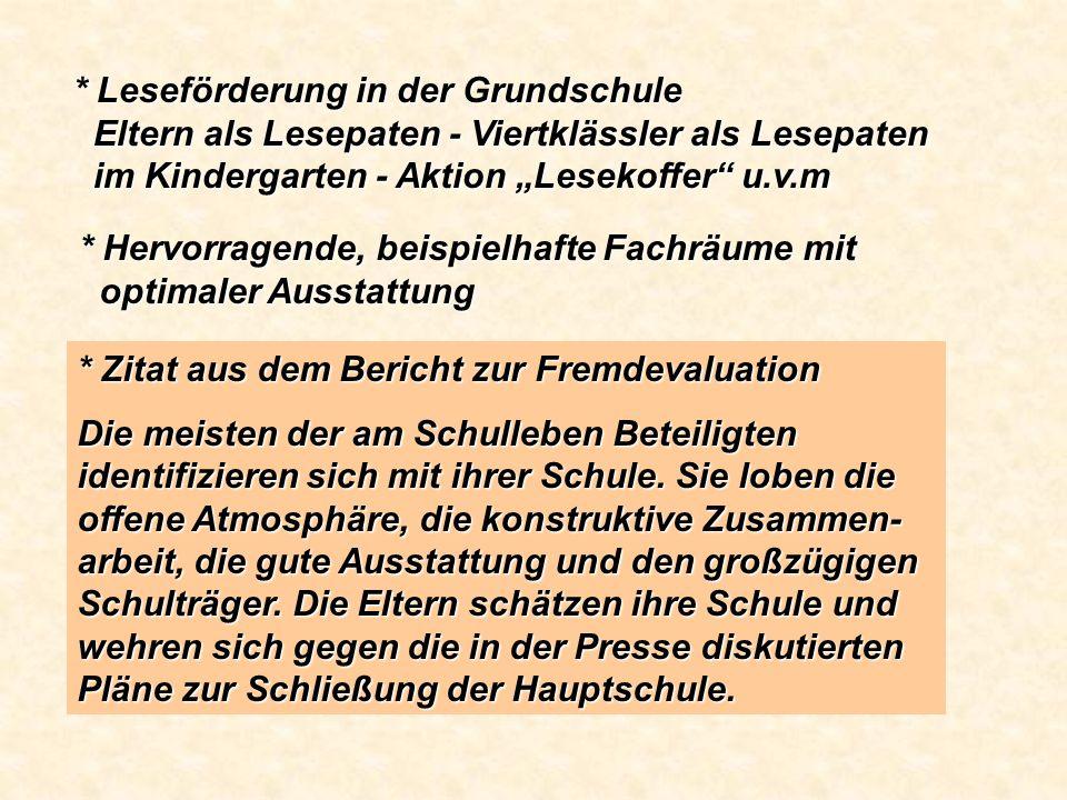 """* Leseförderung in der Grundschule Eltern als Lesepaten - Viertklässler als Lesepaten im Kindergarten - Aktion """"Lesekoffer u.v.m"""