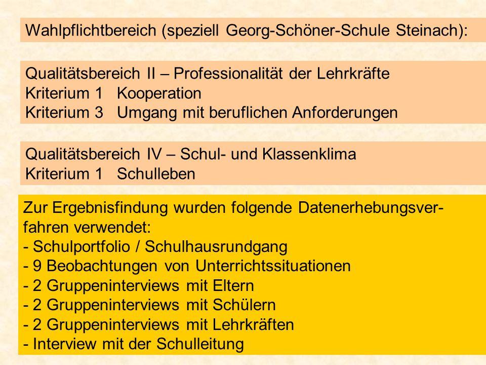 Wahlpflichtbereich (speziell Georg-Schöner-Schule Steinach):