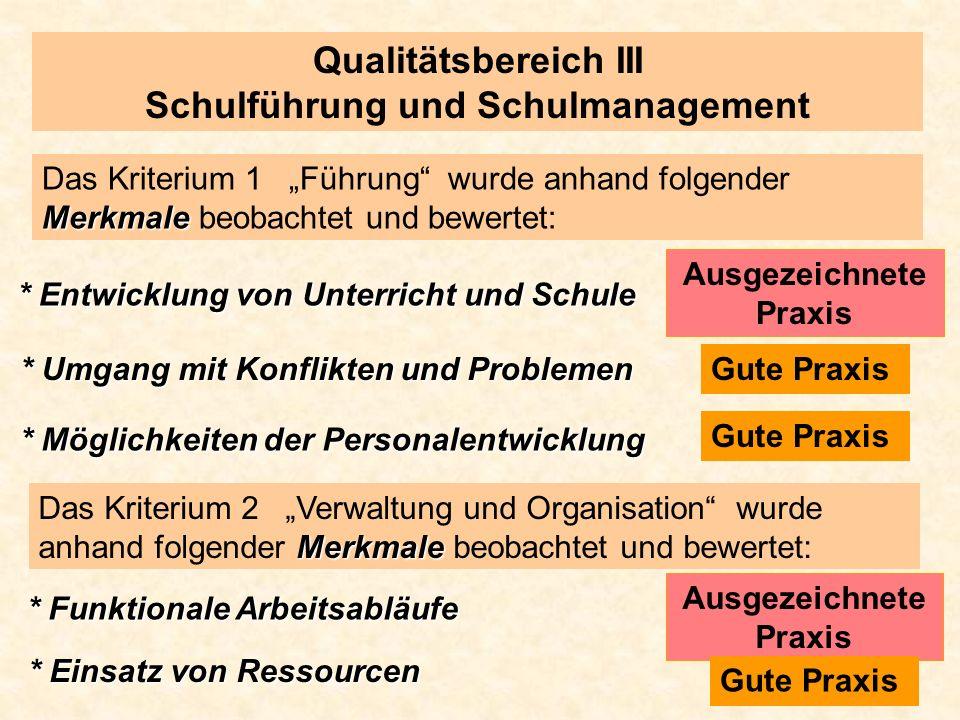 Qualitätsbereich III Schulführung und Schulmanagement