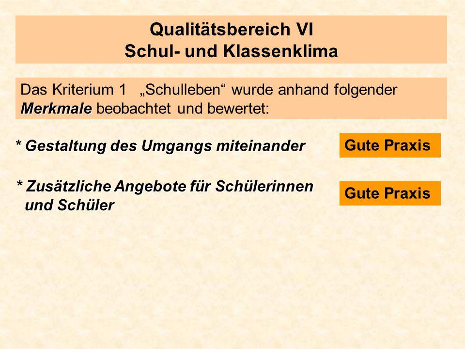 Qualitätsbereich VI Schul- und Klassenklima