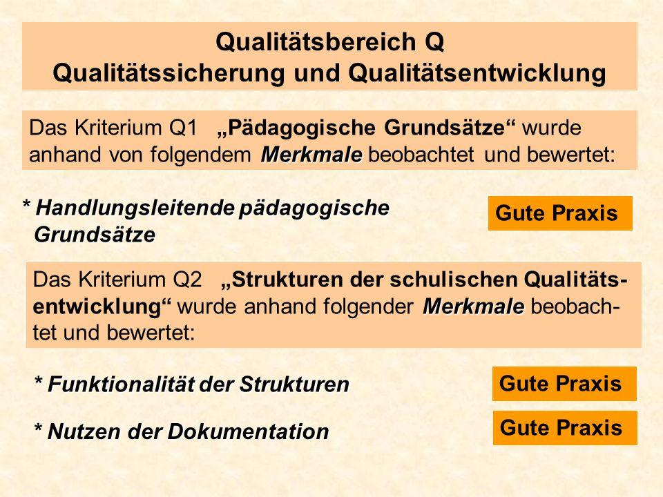 Qualitätsbereich Q Qualitätssicherung und Qualitätsentwicklung