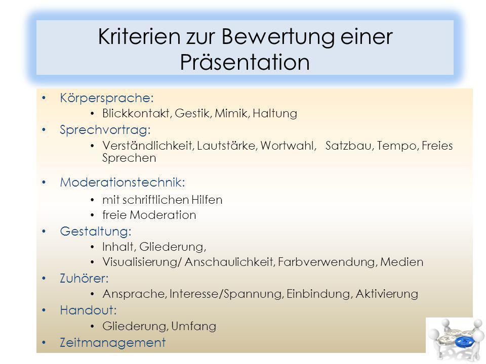 Kriterien zur Bewertung einer Präsentation