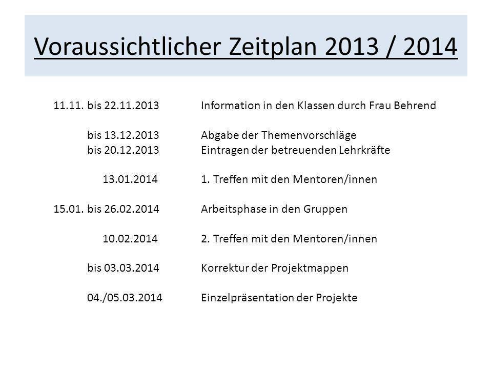 Voraussichtlicher Zeitplan 2013 / 2014