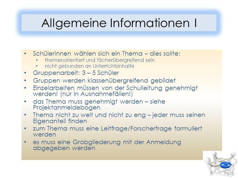 Allgemeine Informationen I