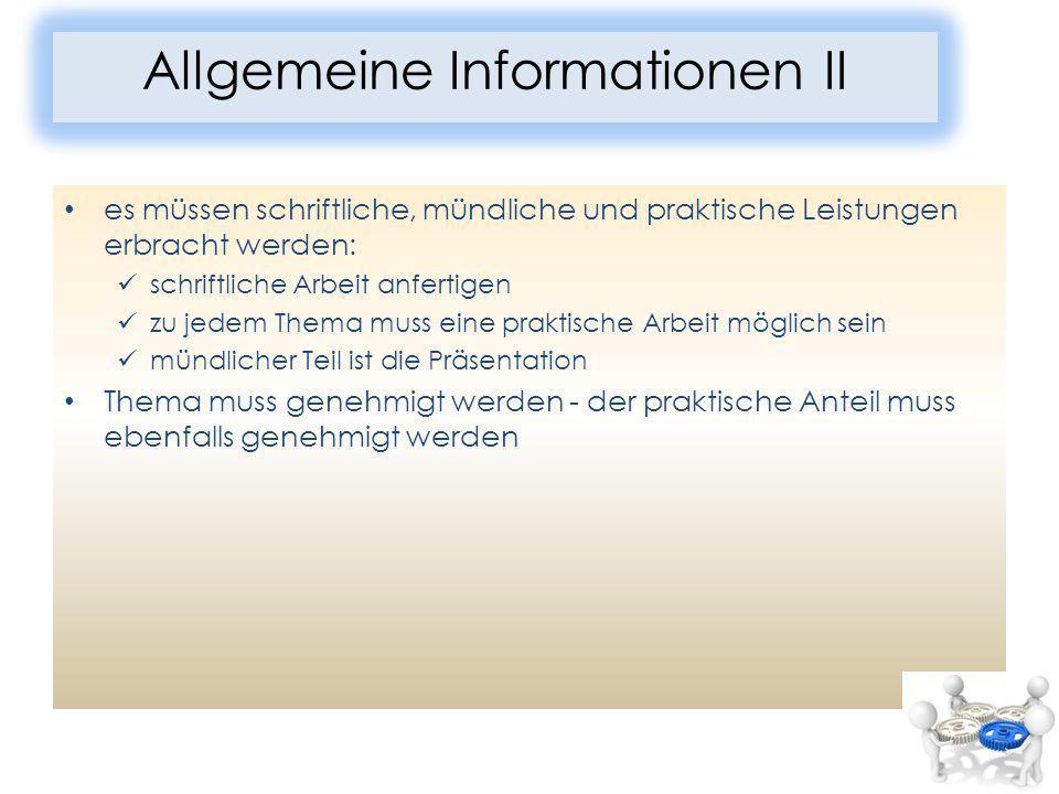 Allgemeine Informationen II