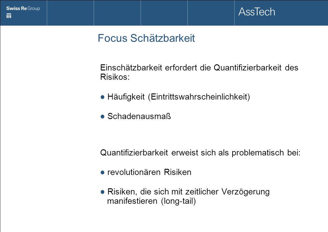 Focus Schätzbarkeit Einschätzbarkeit erfordert die Quantifizierbarkeit des Risikos: Häufigkeit (Eintrittswahrscheinlichkeit)