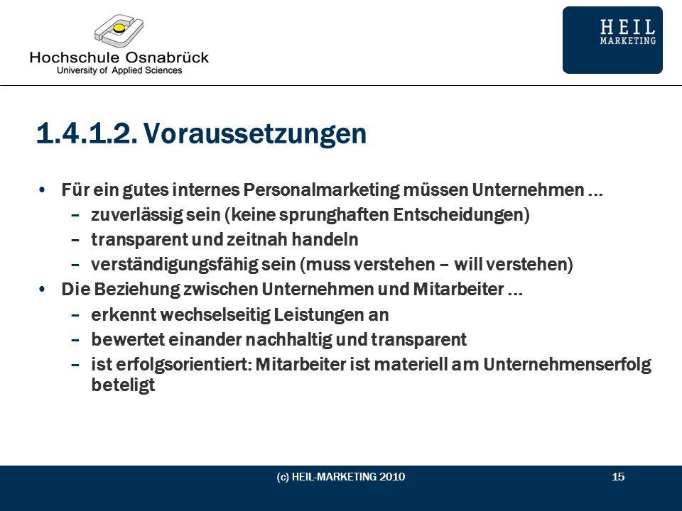 1.4.1.2. Voraussetzungen Für ein gutes internes Personalmarketing müssen Unternehmen ... zuverlässig sein (keine sprunghaften Entscheidungen)