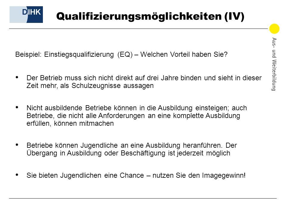 Qualifizierungsmöglichkeiten (IV)