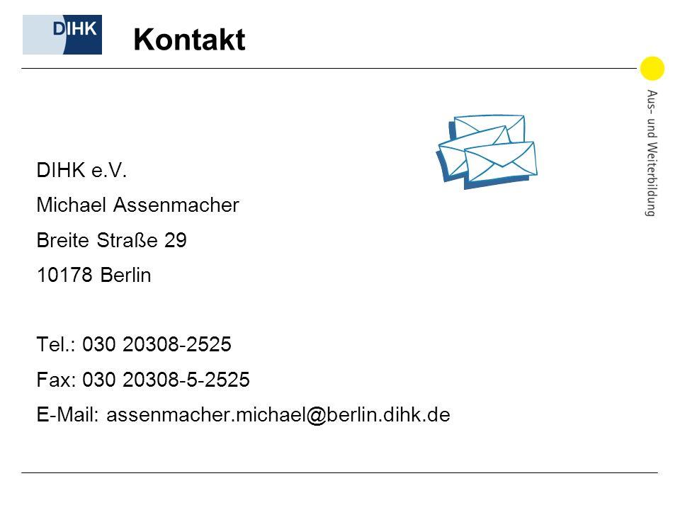Kontakt DIHK e.V. Michael Assenmacher Breite Straße 29 10178 Berlin