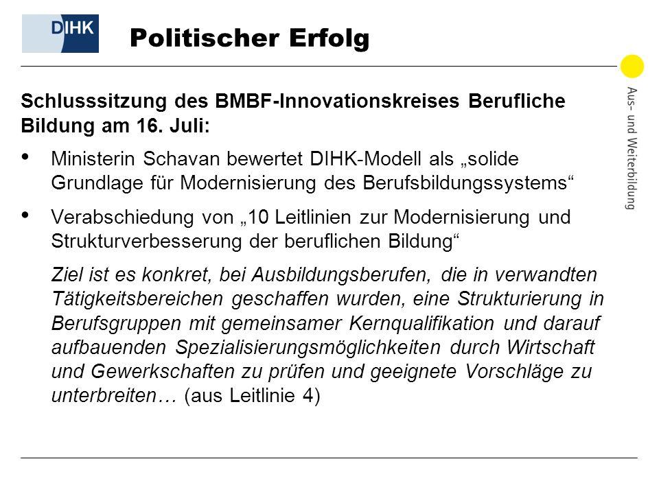 Politischer Erfolg Schlusssitzung des BMBF-Innovationskreises Berufliche. Bildung am 16. Juli:
