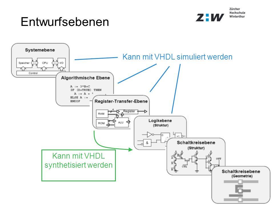 Entwurfsebenen Kann mit VHDL simuliert werden