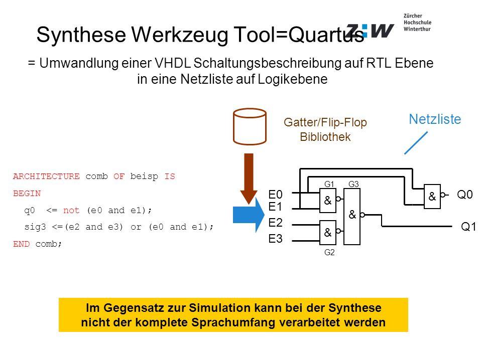 Synthese Werkzeug Tool=Quartus