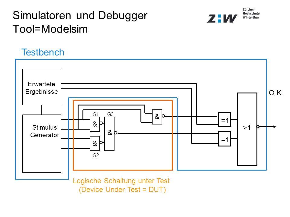 Simulatoren und Debugger Tool=Modelsim