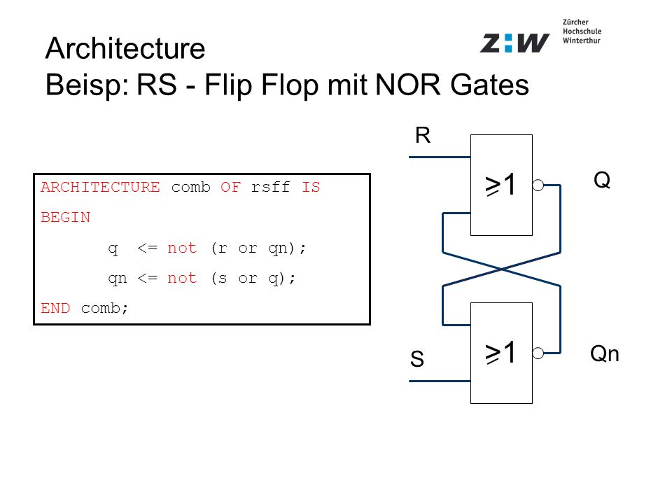 Architecture Beisp: RS - Flip Flop mit NOR Gates