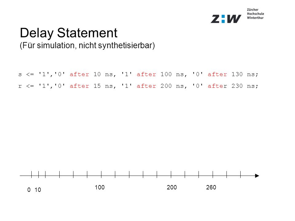 Delay Statement (Für simulation, nicht synthetisierbar)