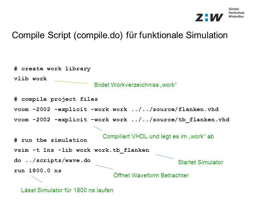 Compile Script (compile.do) für funktionale Simulation