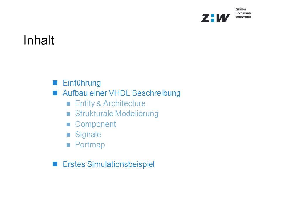 Inhalt Einführung Aufbau einer VHDL Beschreibung Entity & Architecture