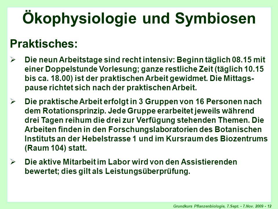 Ökophysiologie und Symbiosen