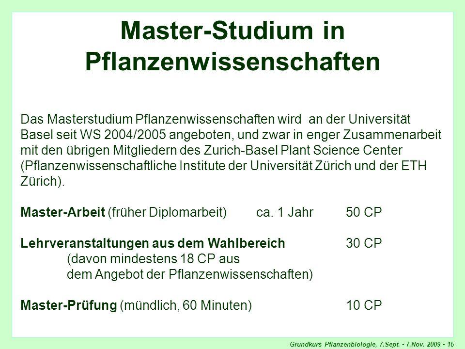 Masterstudium Pflanzenwissenschaften