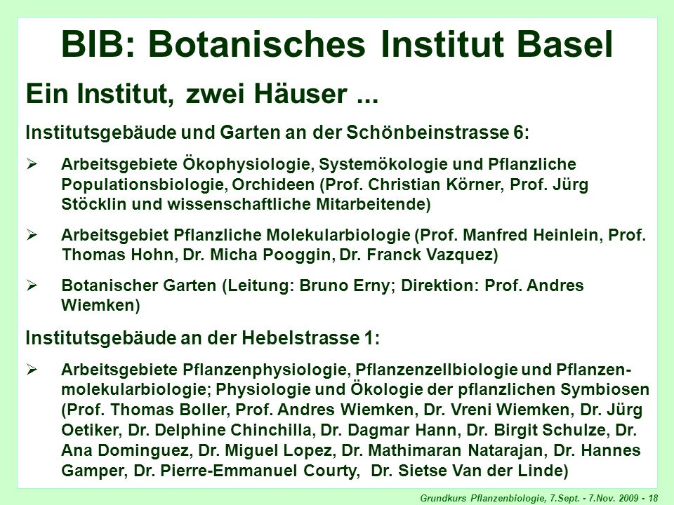 BIB: Botanisches Institut Basel