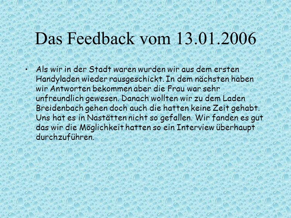 Das Feedback vom 13.01.2006