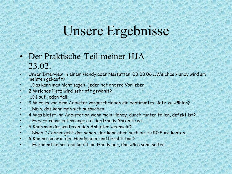 Unsere Ergebnisse Der Praktische Teil meiner HJA 23.02.